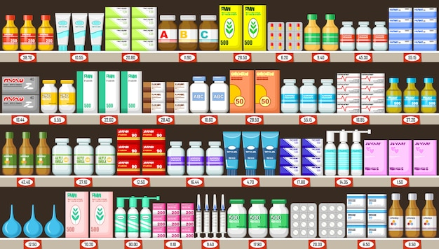 Pharmacy shelves with medicine