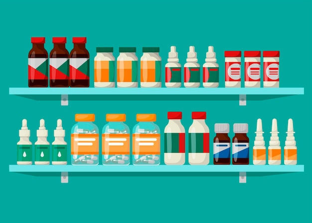 Pharmacy shelves with medicines. the concept of pharmaceuticals and medicines.