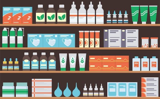 薬局の棚には、薬、錠剤、軟膏、ビタミン、抗生物質が入っています。薬と一緒に棚を保管してください。シームレスなパターン。