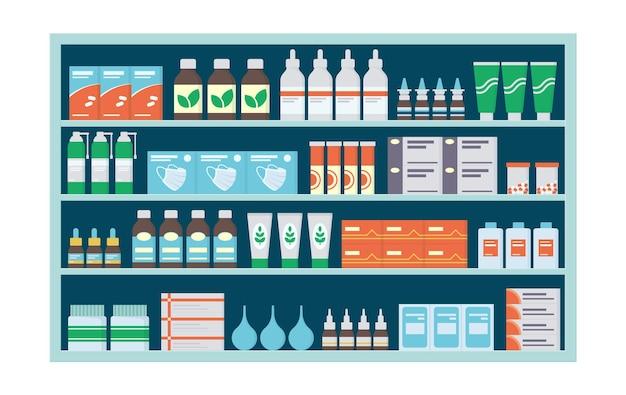 薬、錠剤、軟膏、ビタミン、抗生物質が入った薬局の棚。薬の入った棚を収納。