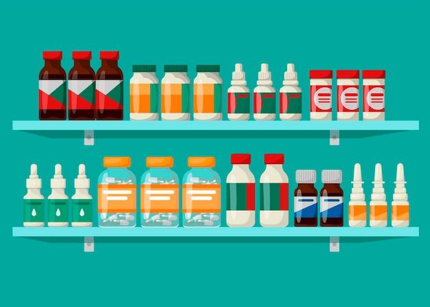 약이 있는 약국 선반. 의약품 및 의약품의 개념입니다.
