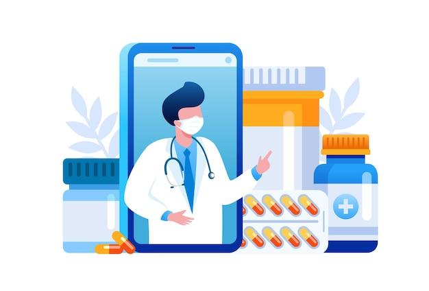 Pharmacy shopping flat vector illustration for banner Premium Vector