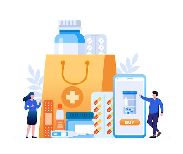 Pharmacy shopping flat vector illustration for banner