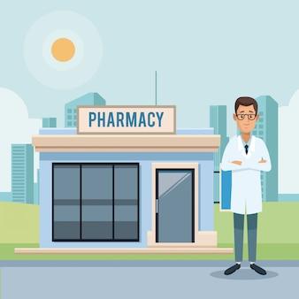 薬局の店と医者
