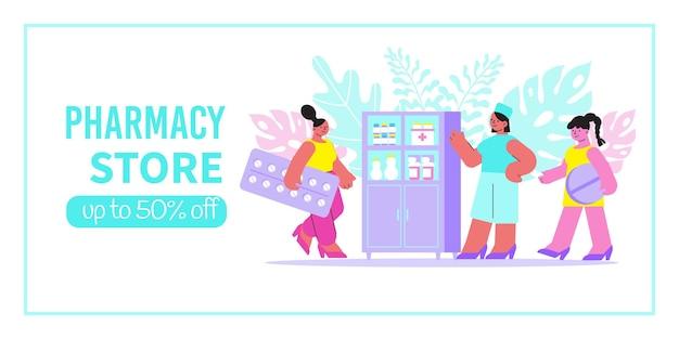 Insegna del negozio di farmacia con il farmacista vicino all'illustrazione della vetrina Vettore gratuito