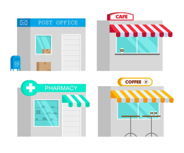 Pharmacy store, cafe, post office in flat style. cartoon drugstore cocncept. infographic element.