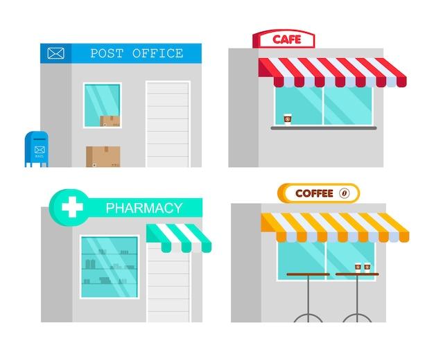 フラットスタイルの薬局、カフェ、郵便局。漫画のドラッグストアの概念。インフォグラフィック要素。