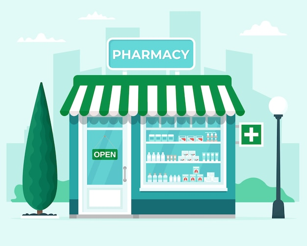 Pharmacy store on city background illustration in flat style