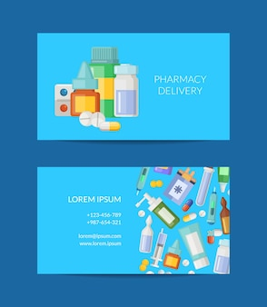Pharmacy store or delivery business card template illustration