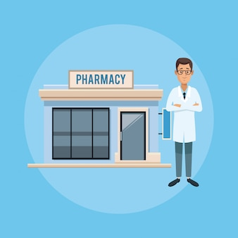 Pharmacy store and doctor