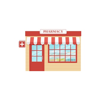Pharmacy store front,  drugstore, storefront shop,