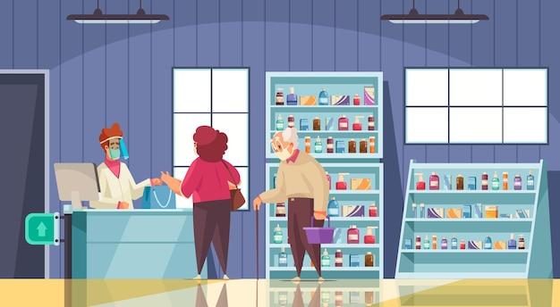 Illustrazione del negozio di farmacia con prescrizione medica