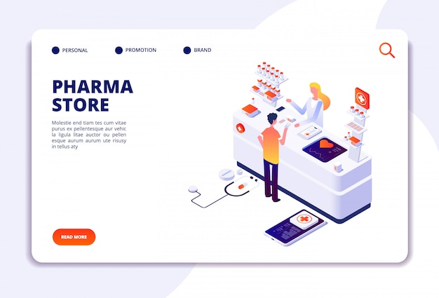 Pharmacy store landing page