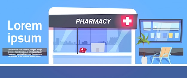Pharmacy store in modern hospital drugstore shop exterior template