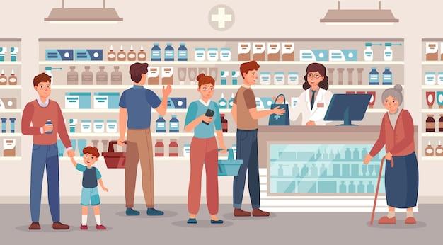 薬局。薬剤師は、ドラッグストアのベクターイラストでさまざまな薬の人々、医療相談、薬の購入を販売しています。老婆、バスケットを持つ男性と女性は錠剤を購入します