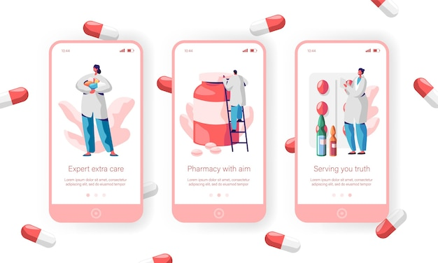Pharmacy store sale pills mobile app page onboard screen set. pharmacist care about health for website or web page. medical drugstore expert medicament. flat cartoon vector illustration
