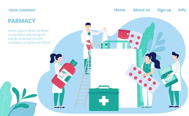 Шаблон сайта аптеки,. фармацевты, аптекари с лекарствами и лекарствами, таблетками и медицинскими бутылками. интернет-страница медицинского магазина. аптека аптечный магазин.