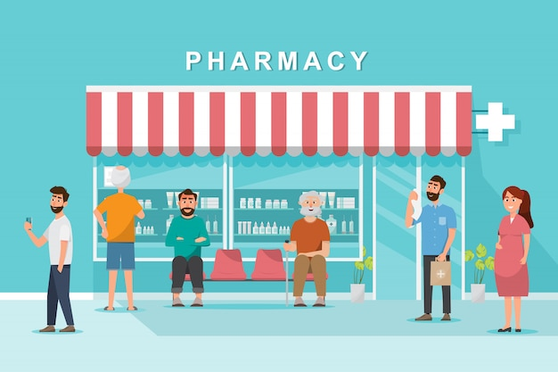 Pharmacy store with client in the city