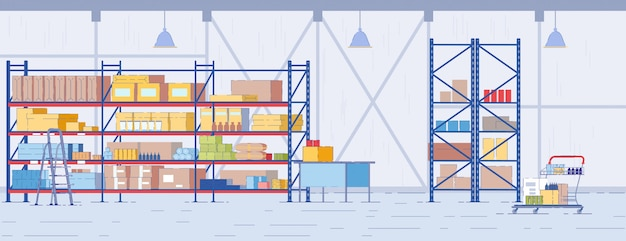 Pharmacy storehouse. warehouse interior with racks