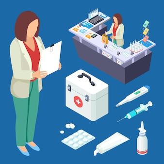 Pharmacy vector isometric set. pharmacist at work, drugs and first aid kid illustration