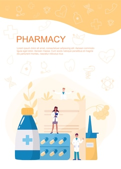 Pharmacy web banner or advert brochure. medicine pill for disease treatment and prescription form. medicine and healthcare. drugstore booklet or flyer.