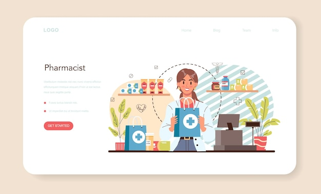 Pharmacy web banner or landing page. isolated vector illustration