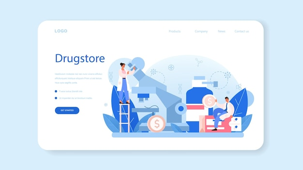 Pharmacy web banner or landing page. pharmacist preparing and selling drugs in bottle and box for disease treatment. healthcare and medical treatment concept. isolated vector illustration