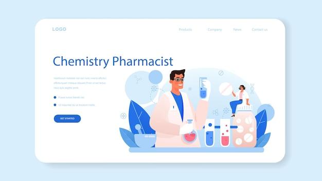 Pharmacy web banner or landing page pharmacist preparing