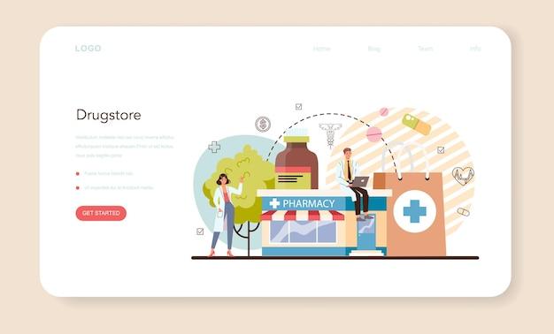 Pharmacy web banner or landing page pharmacist selling drugs