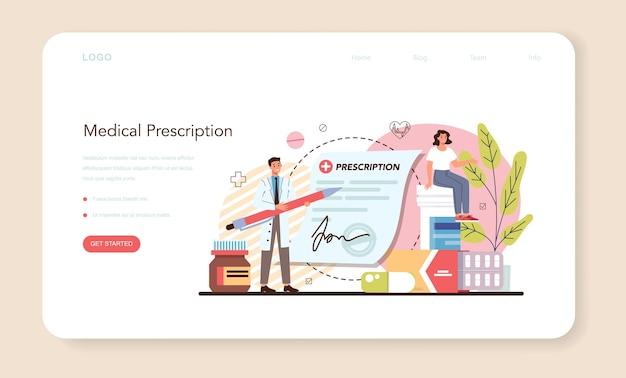 Pharmacy web banner or landing page. pharmacist selling drugs