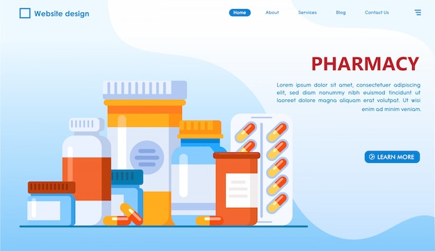 Pharmacy website landing page in flat style