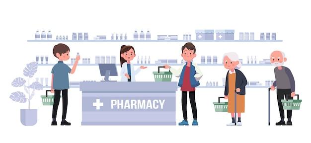 薬剤師とクライアントがカウンターにいる薬局。ドラッグストア漫画のキャラクターイラスト