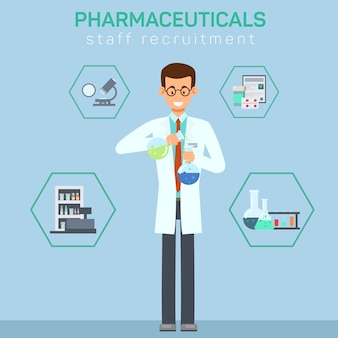 Pharmacy workers recruiting flat illustration