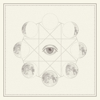Phases of the moon with all-seeing eye and sacred geometry