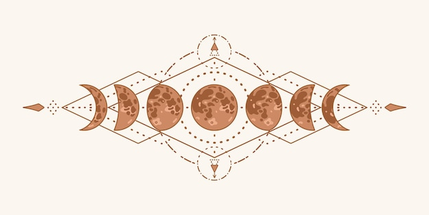 Phases of the moon with sacred geometry