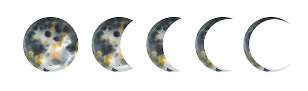 Фазы луны акварель рисованной иллюстрации Premium векторы