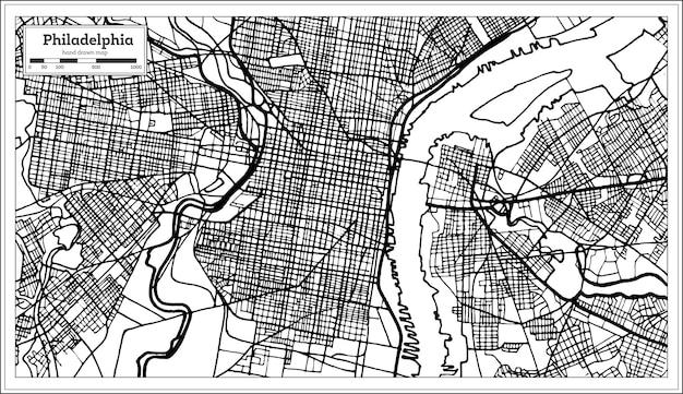 흑백 색상의 필라델피아 펜실베니아 미국 지도. 벡터 일러스트 레이 션. 개요 지도.