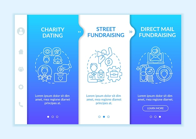 Philanthropic activities onboarding vector template. responsive mobile website with icons. web page walkthrough 3 step screens. charity dating, street fundraise color concept with linear illustrations