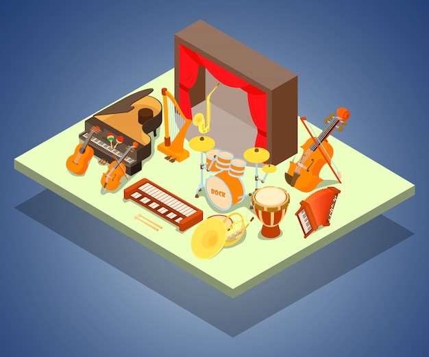 Philharmonic concept banner, isometric style