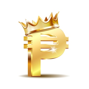 Philippine peso currency symbol with golden crown, golden money sign, vector illustration on white background