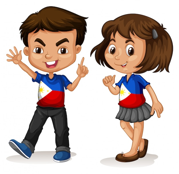 Philippines boy and girl greeting