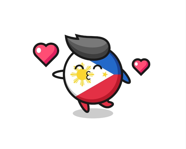 Philippines flag badge character cartoon with kissing gesture , cute style design for t shirt, sticker, logo element