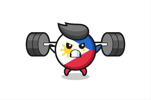 바벨이 있는 필리핀 국기 배지 마스코트 만화, 티셔츠, 스티커, 로고 요소를 위한 귀여운 스타일 디자인