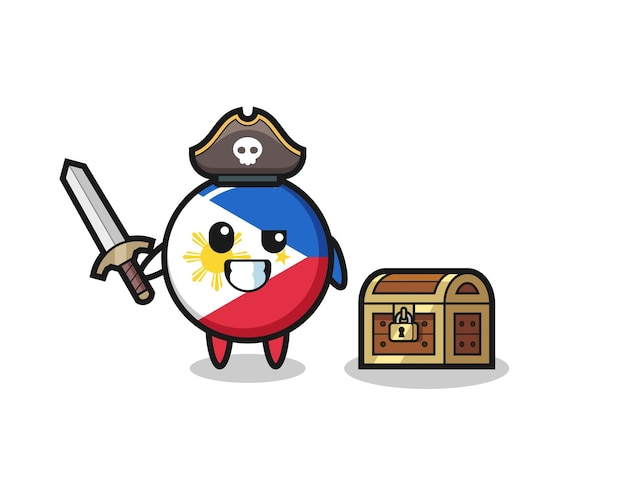 The philippines flag badge pirate character holding sword beside a treasure box , cute style design for t shirt, sticker, logo element
