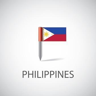 フィリピンの旗ピン、明るい背景で隔離