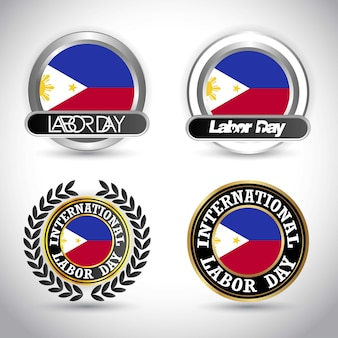 Philippines flag with labour day design vector