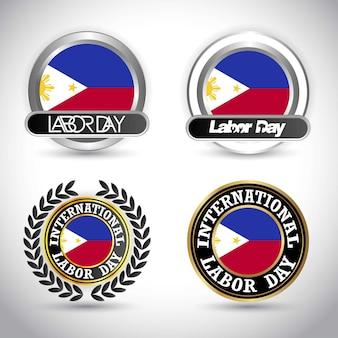 労働日のデザインベクトルとフィリピンの旗