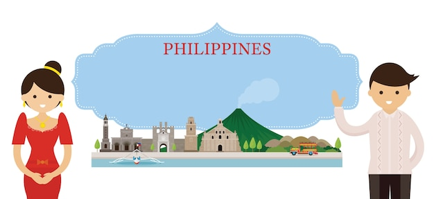 Philippines landmarks and traditional clothing