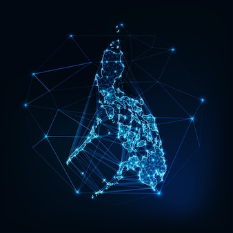 Philippines map glowing silhouette outline made of stars lines dots triangles