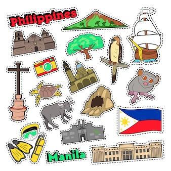 필리핀 여행은 지문, 스티커 및 배지에 대한 건축과 동물로 설정됩니다. 벡터 낙서